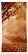 Yellow Leaf Road Beach Towel