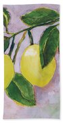 Yellow Lemons On Purple Orchid Beach Towel by Jen Norton