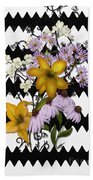 Yellow Lilies On Black And White Zigzag Beach Towel