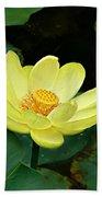 Yellow Lotus Beach Towel