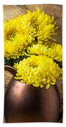Yellow Mums In Copper Vase Beach Sheet