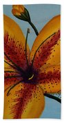 Yellow Oriental Lily Beach Towel