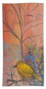 Yellow Peace Bird On Orange Beach Towel