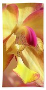 Yellow Pink Orchid Beach Towel