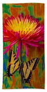 Yellow Red Mum With Yellow Black Butterfly Beach Towel