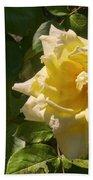 Yellow Rose And Bud Beach Towel