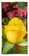 Yellow Rose In Bloom Beach Towel