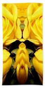 Yellow Roses Mirrored Effect Beach Towel