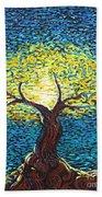 Yellow Squiggle Tree Beach Towel