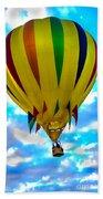 Yellow Striped Hot Air Balloon Beach Towel