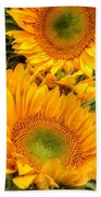 Yellow Sun Flower Burst Beach Towel