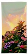 Yellow Sunrise And Flowers - Vertical Beach Towel