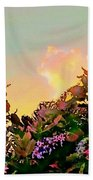 Yellow Sunrise With Flowers - Square Beach Towel