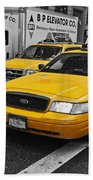 Yellow Taxi Color Pop Beach Towel
