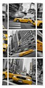 Yellow Taxis Collage Beach Towel