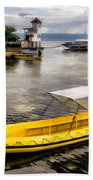 Yellow Tour Boat Beach Towel