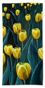 Yellow Tulip Field Beach Towel