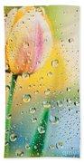 Yellow Tulip Reflecting In Water Drops Beach Towel