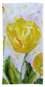 Yellow Tulips And Butterfly Beach Towel