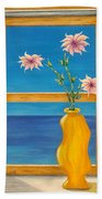 Yellow Vase With Sea View Beach Towel