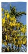 Yellow Wisteria Blooms Beach Towel