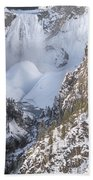 Yellowstone -  Lower Falls In Winter Beach Towel