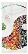Yin And Yang - Colorful Peace - By Sharon Cummings Beach Sheet