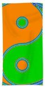 Yin Yang Orange Green Pop Art Beach Towel