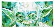 Yoda Watercolor Portrait Beach Towel