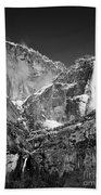 Yosemite Falls In Black And White II Beach Towel by Bill Gallagher