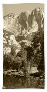 Yosemite Falls Sepia Beach Towel