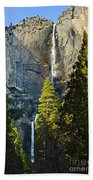 Yosemite Falls With Late Afternoon Light In Yosemite National Park. Beach Towel by Jamie Pham