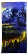 Yosemite Valley At Night Beach Towel