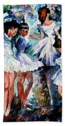 Young Ballerinas - Palette Knife Oil Painting On Canvas By Leonid Afremov Beach Towel