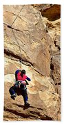 Young Climber In Joshua Tree Np-ca- Beach Towel