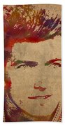 Young Clint Eastwood Actor Watercolor Portrait On Worn Parchment Beach Towel