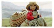 Young Girl In Peru Beach Towel