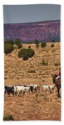 Young Goat Herders Beach Towel by Priscilla Burgers