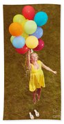Young Happy Woman Flying On Colorful Helium Balloons Beach Sheet