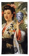 Young Japanese Lady Beach Towel