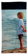 Young Lad By The Shore Beach Towel