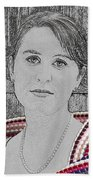 Young Lady With Multicolored Shawl Beach Towel