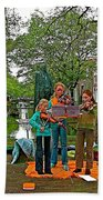 Young Musicians On Orange Day By A Canal In Enkhuizen-netherland Beach Towel