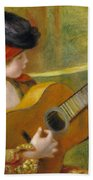 Young Spanish Woman With A Guitar Beach Towel by Pierre Auguste Renoir