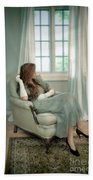Young Woman In A Chair Beach Towel