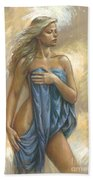 Young Woman With Blue Drape Beach Towel