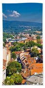 Zagreb Capital Of Croatia Aerial View Beach Towel