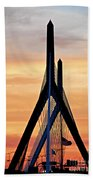 Zakim Bridge In Boston Beach Towel by Elena Elisseeva