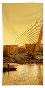 Zakim Bridge Sunset Beach Towel