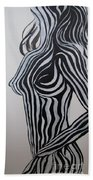 Zebra Body Paint Beach Towel